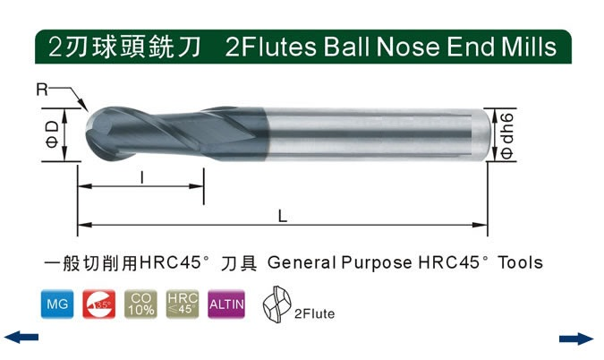 2F Ball Nosed End Mills